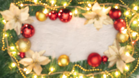 Christmas decorative frame with gold and red ornaments and lights Animation