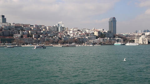 Ships floating Bosphorus blue water sunny day. Water traffic Live Action