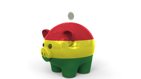 Coins fall into piggy bank painted with flag of Bolivia. National banking system Live Action