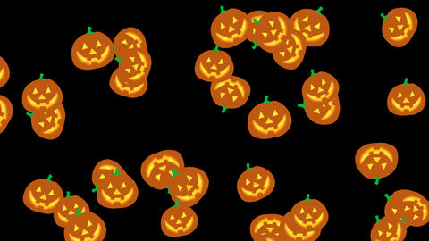 Halloween cartoon pumpkins falling and bouncing against alpha channel background. Halloween theme Animation