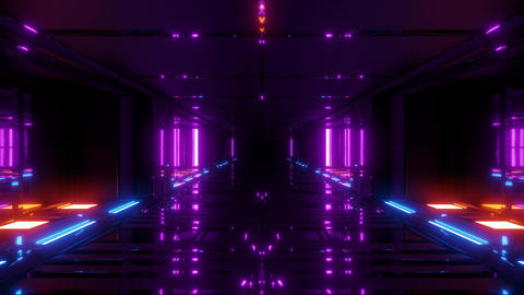 futuristic scifi hangar tunnel corridor 3d illustration with glass bottom and Animation