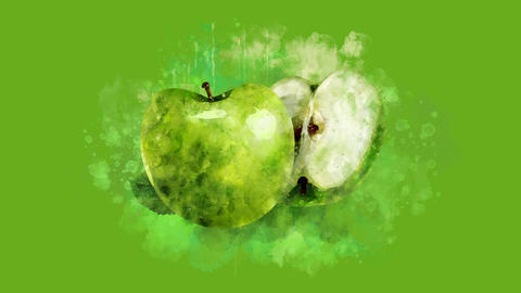 The appearance of the green apple on a watercolor stain Animation