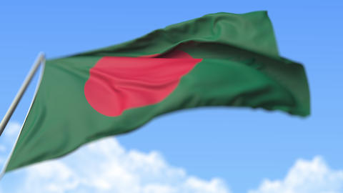 Waving national flag of Bangladesh, low angle view. Loopable realistic slow Live Action