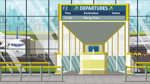 Flight to Hong Kong on airport departure board. Trip to China loopable cartoon Footage