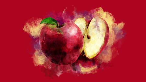 The appearance of the red apple on a watercolor stain GIF