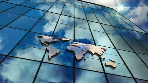 World Map sign on glass skyscraper with mirrored sky loop animation CG動画