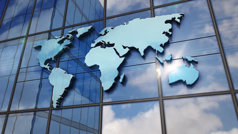 World Map sign on glass wall and mirrored building Animation
