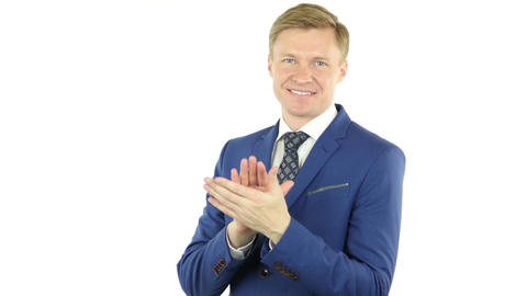 Clapping Gesture of businessman,Applauding, isolated on white background Footage
