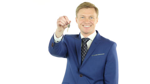 Businessman Offering keys of House, Selling Property, Real Estate Agent Footage