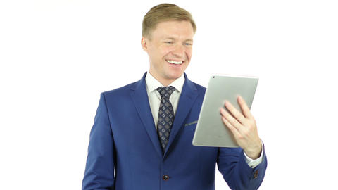 Video Conference on Tablet, Business Discussion, online communication Footage