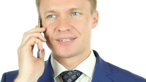 Businessman Talking on Phone, Portrait with white background Footage