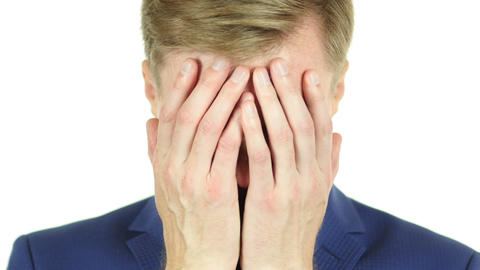 Portrait of Tired, Stressful Businessman having a headache Footage