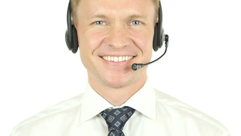 Portrait of Call Center Operator, Smiling Agent Footage