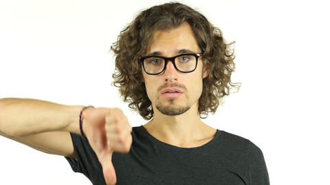 Thumbs Down by Man in Glasses Footage