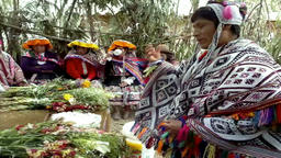 Ancient Andean wedding ceremony performed in the highland Amaru village, Peru