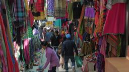 Clothes shops on steep road,Leh,Ladakh,India Footage
