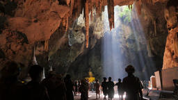 Tham Khao Luang cave with students,Petchaburi,Thailand Footage