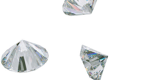 Large daimonds or gemstones flow slow motion seamless loop. Alpha Footage