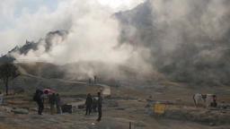 Tourists at Kawah Sikidang volcanic crater,Dieng,Java,Indonesia Footage