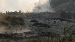 Steaming volcanic landscape at Kawah Sikidang,Dieng,Java,Indonesia Footage