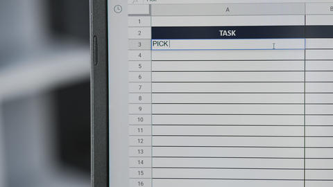 Person marking task PICK UP THE PACKET in online plan, to-do list Live Action