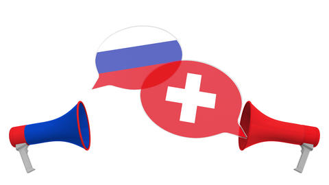 Speech bubbles with flags of Switzerland and Russia. Intercultural dialogue or Live Action
