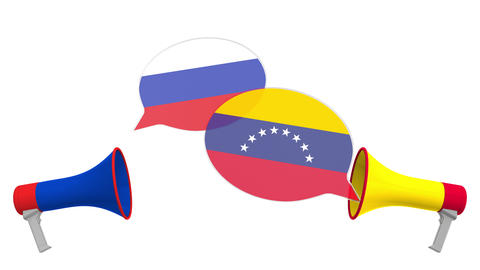 Speech bubbles with flags of Venezuela and Russia and loudspeakers Live Action