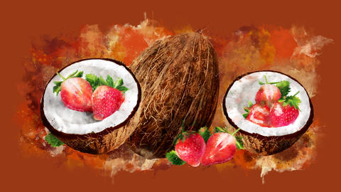 The appearance of the coconut and strawberry on a watercolor stain CG動画