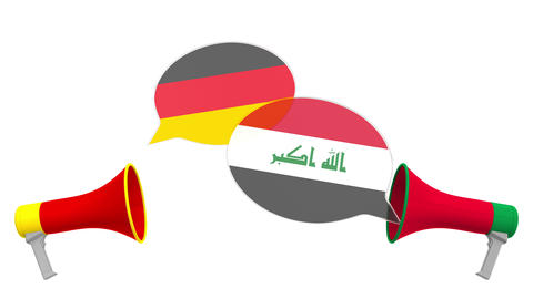 Flags of Iraq and Germany on speech balloons from megaphones. Intercultural Live Action