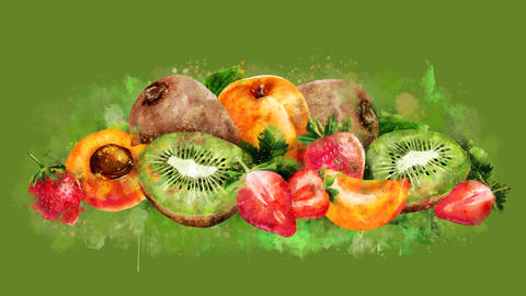 The appearance of the apricot, strawberry and kiwi on a watercolor stain CG動画