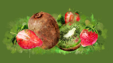 The appearance of the strawberry and kiwi on a watercolor stain GIF