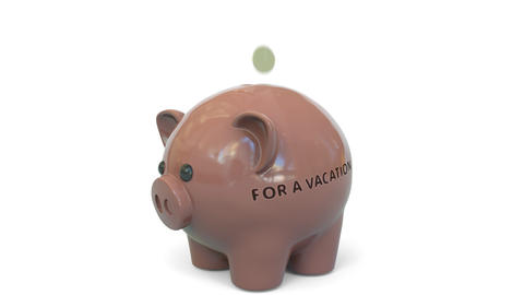 Money fall into piggy bank with FOR A VACATION text. Savings related 3D Live Action