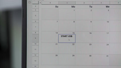 Writing START JOB on 15th on calendar to remember this date Live Action