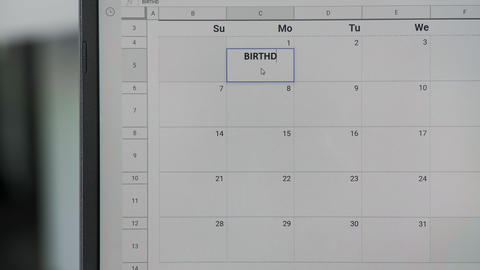 Writing BIRTHDAY on 1th on calendar to remember this date ビデオ