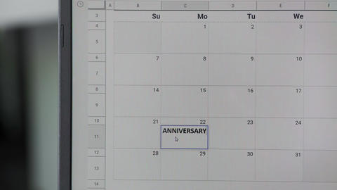 Writing ANNIVERSARY on 22th on calendar to remember this date GIF