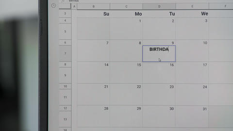 Writing BIRTHDAY on 9th on calendar to remember this date GIF