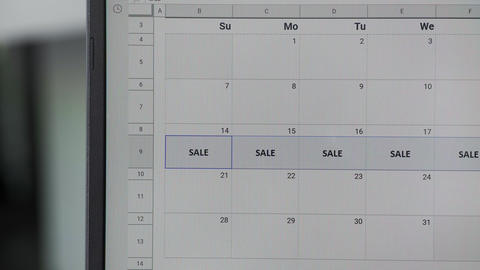 Writing SALE on 14th and copy whole week on calendar to remember this date GIF