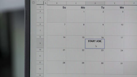 Writing START JOB on 16th on calendar to remember this date GIF