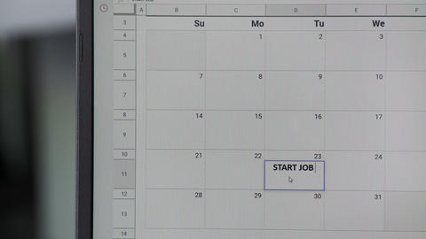 Writing START JOB on 23th on calendar to remember this date ビデオ