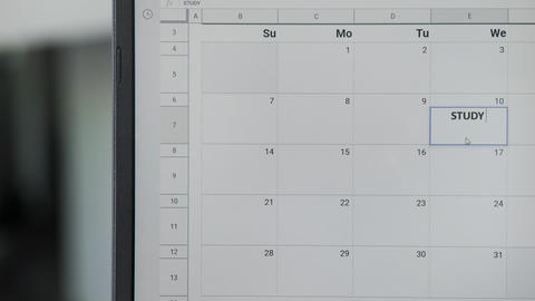 Writing STUDY TIME on 3th on calendar to remember this date GIF