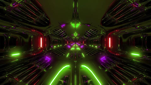 futuristic scifi fantasy alien hangar tunnel corridor 3d rendering motion Animation