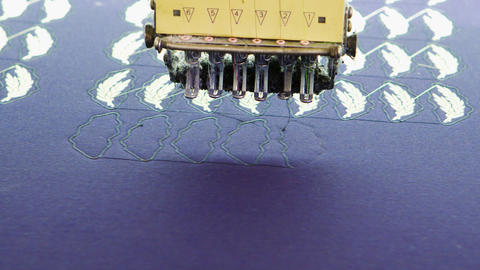 Close up of modern sewing industrial machinery in a textile factory Live Action