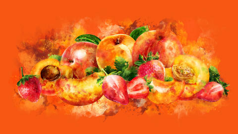 The appearance of the apricot, peach and strawberry on a watercolor stain GIF