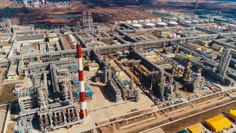 modern equipped gas and oil refinery complex aerial view Footage