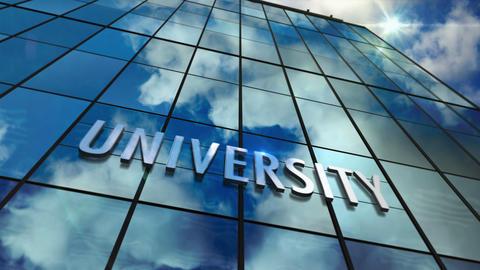University glass skyscraper with mirrored sky loop animation Videos animados
