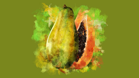 The appearance of the papaya on a watercolor stain Animation