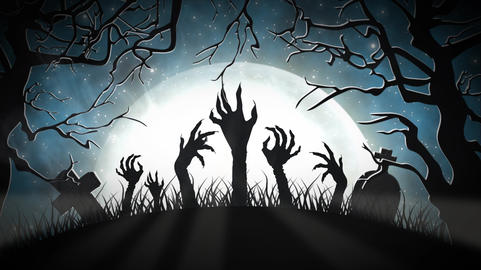 Halloween graveyard at night on a full moon with zombies Animation