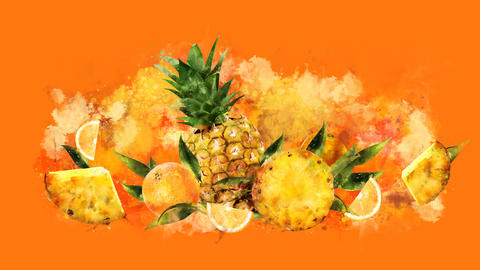 The appearance of the pineapple and orange on a watercolor stain GIF