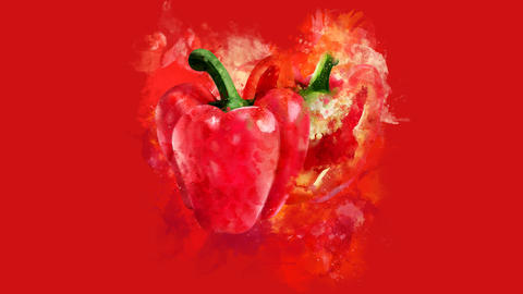 The appearance of the red pepper on a watercolor stain GIF