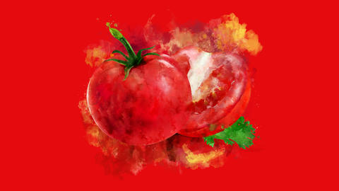 The appearance of the tomato on a watercolor stain GIF